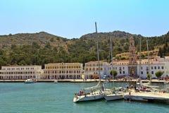 Panormitisklooster op Symi-eiland, Griekenland. royalty-vrije stock foto