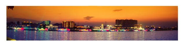 Panoroma Guangzhou στο ηλιοβασίλεμα στοκ εικόνες