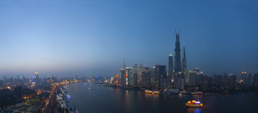Panoroma night view  of shanghai huangpu river Stock Photography