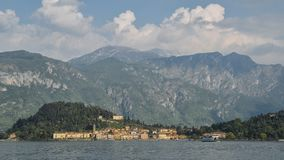 Panoromic view of beautiful mountains surrounding the famous town of Bellagio on Lake Como, Italy. Stock Photo