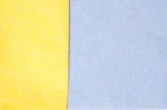 Panos azuis e amarelos da limpeza Fotografia de Stock