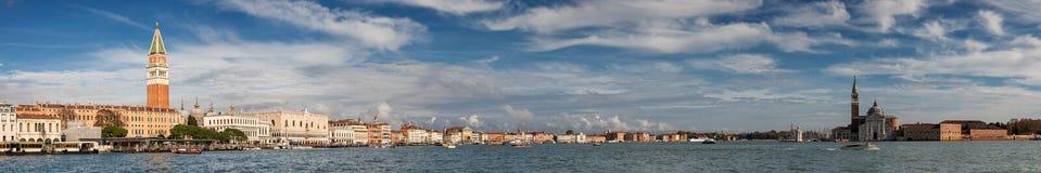Panotama of the Venice lagoon towards San Marco square stock photos