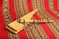 Panpipes and flute from South America Stock Images
