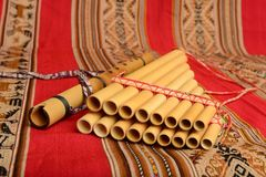 Panpipes and flute from South America Stock Photo