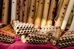 Panpipes. On a market in Peru stock photography