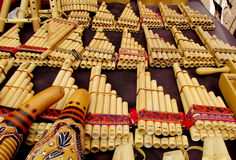 Panpipes traditional instruments for South American music. Traditional instruments for South American music. Traditional Bamboo Panpipes Royalty Free Stock Photos