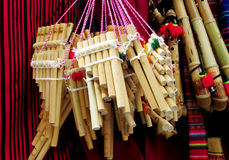 Panpipes traditional instruments for South American music. Traditional instruments for South American music. Traditional Bamboo Panpipes Royalty Free Stock Images