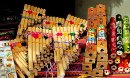 Panpipes traditional instruments for South American music. Traditional instruments for South American music. Traditional Bamboo Panpipes Stock Photography