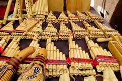 Panpipes traditional instruments for South American music. Traditional instruments for South American music. Traditional Bamboo Panpipes Royalty Free Stock Photo