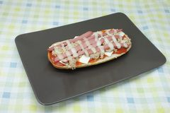 PanPizza. Result of combining a sandwich and a pizza, leading to panini stock photos