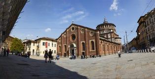 Panprama van Kerk en Dominicaans klooster Santa Maria delle Graz royalty-vrije stock fotografie