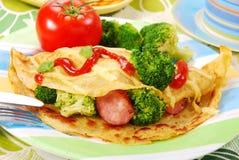 Panqueca com bróculos Fotografia de Stock