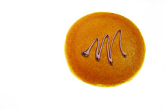 Panqueca de Dorayaki com chocolate, japonês Bean Confectionery On White Background imagem de stock