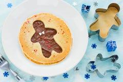 Panqueca do homem de pão-de-espécie Panqueca doce com chocolate e açúcar Foto de Stock