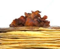 Panquecas com bacon Imagens de Stock