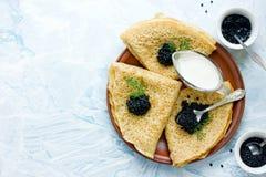 Panquecas com caviar preto Foto de Stock Royalty Free