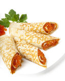 Panquecas com caviar vermelho Imagem de Stock