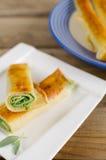 Panquecas com espinafres e queijo da ricota Imagens de Stock