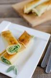 Panquecas com espinafres e queijo da ricota Foto de Stock