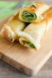 Panquecas com espinafres e queijo da ricota Fotografia de Stock Royalty Free