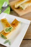 Panquecas com espinafres e queijo da ricota Fotos de Stock Royalty Free