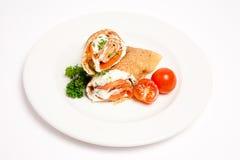 Panquecas com tomate e creme Imagens de Stock Royalty Free