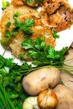 panquecas de batata com salmões salgados e verdes imagens de stock royalty free