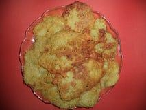 Panquecas de batata fritadas frescas fotografia de stock