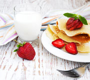 Panquecas de Stawberry Fotografia de Stock