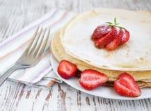 Panquecas de Stawberry Fotografia de Stock Royalty Free