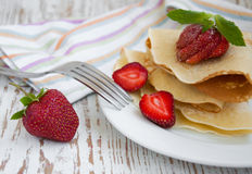 Panquecas de Stawberry Imagem de Stock
