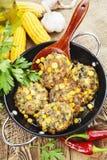 Panquecas do milho com carne triturada fotografia de stock