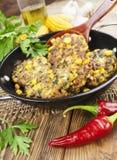Panquecas do milho com carne triturada Foto de Stock