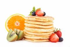 Panquecas e frutas Imagens de Stock Royalty Free
