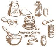 Panquecas e ingredientes americanos Foto de Stock