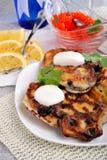 Panquecas fritadas com groselha Foto de Stock Royalty Free