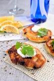 Panquecas fritadas com groselha Imagem de Stock Royalty Free