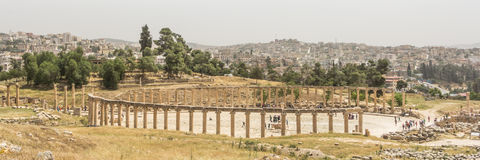 Panroama of the Roman Oval Forum in the Roman city of Jerash, Jo Royalty Free Stock Photography