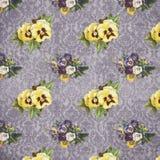 Pansé d'annata elegante misera - viole del pensiero afflitte del damasco modelli - fondo di carta di Digital - struttura floreale royalty illustrazione gratis