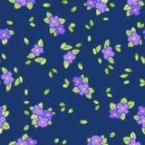 Pansé o modello senza cuciture vittoriano dei fiori e delle foglie della viola illustrazione vettoriale
