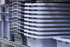 Pans. Used for food storage at a food processing plant Royalty Free Stock Images