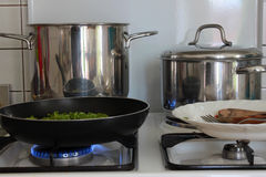 Pans in kitchens Royalty Free Stock Photos