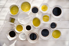 Pans with oil and vinegar Royalty Free Stock Photo