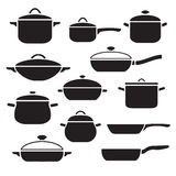 Pans and pots collection Royalty Free Stock Photos