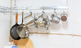 Pans and pots in the kitchen Stock Photo
