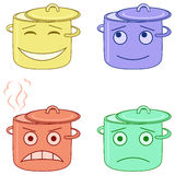 Pans smily. Set of the pans smiles symbolizing various human emotions. Vector Stock Photo