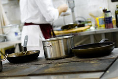 Pans on the stove Stock Photos