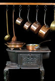 Pans and stove two Royalty Free Stock Image