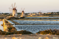 Pans of Trapani with windmills. In Sicily Stock Images