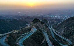 Panshan-Landstraße in China stockfotografie